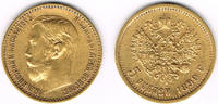 5 Rubel 1899 Russland Russland, 5 Rubel Nikolaus II., 1899, 4,30 g 900e... 185,00 EUR  zzgl. 5,00 EUR Versand