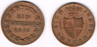1 Kreuzer 1846 Hohenzollern-Sigmaringen Hohenzollern-Sigmaringen, Kursm... 19,00 EUR  zzgl. 5,00 EUR Versand