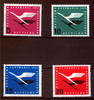 BRD 4 Werte, 5 bis 20 Pfennig BRD, Mi.-Nr. 205-08, <i>Flugdienstbeginn der Deutschen Lufthansa</i>