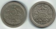 5 Cent 1908 Niederlande Niederlade 1908, 5 Cent, Wilhelmina, Erhaltung ... 8,00 EUR  zzgl. 5,00 EUR Versand
