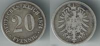 20 Pfennig 1874 C Deutsches Kaiserreich Kaiserreich, Kursmünze 20 Pfenn... 7,00 EUR  zzgl. 5,00 EUR Versand