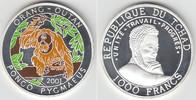 1000 Francs 2000 Tschad Tschad, 1000 Francs, Orang Utan, PP, teilcolori... 21,00 EUR  zzgl. 5,00 EUR Versand
