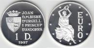 1 Dinar 1997 Andorra Andorra, 1 Diner, Sitzende Europa - EURO, PP Polie... 14,00 EUR  zzgl. 5,00 EUR Versand