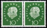 BRD 2 x 10 Pfennig BRD, Mi.-Nr. 303, <i>Freimarken: Bundesprsident Theodor Heuss</i>
