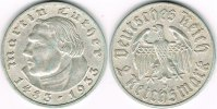 Drittes Reich 2 Mark Drittes Reich, 2 Mark Gedenkmünze Martin Luther 1933 J.