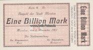 1 Billion Mark 1923 Menden Notgeld der Stadt Menden/Eine Billion Mark/K... 85,00 EUR  +  12,00 EUR shipping
