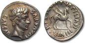 AR Denarius 19-18 B.C. ROMAN EMPIRE Augustus, P. Petronius Turpilianus (moneyer), Rome -irridescent toning- VF+/EF- with beautiful irridescent toning, small flan crack