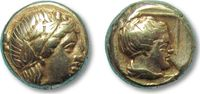 ANCIENT GREECE EL Hekte 375-326 B.C. VF+ Lesbos, Mytilene --APOLLO and F... 376,00 EUR  zzgl. Versand
