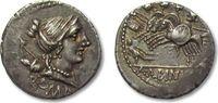 AR Denarius 96 B.C. ROMAN REPUBLIC A. Albinus Sp. f., Rome -- Three gal... 288,00 EUR  zzgl. 11,50 EUR Versand