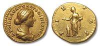 ROMAN EMPIRE Aureus AV GOLD aureus of LUCILLA, wife of Lucius Verus, Rome