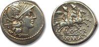 Denarius 154 B.C. ROMAN REPUBLIC C. Scribonius, Rome VF++  184,00 EUR  zzgl. 11,50 EUR Versand