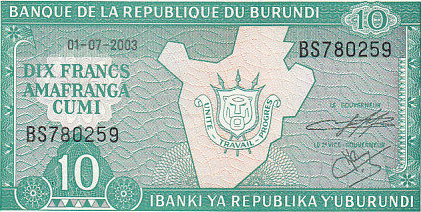 10 Francs 2003 Burundi BURUNDI P.33d - 2003 UNC unz