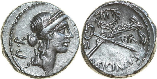AR Denarius 49 BC Republican Q. SICINIUS COPONIA, Rome/CADUCEUS AND PALM vz-