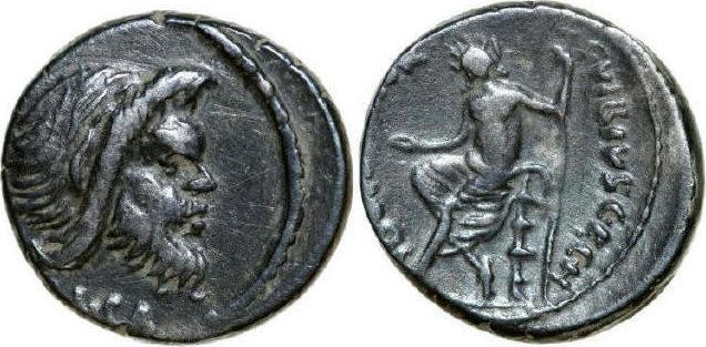 AR Denarius 48 BC Republican C. VIBIUS PANSA, Rome/QUADRIGA ss