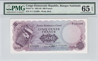 500 Francs 1961 Congo Dem Rep. CONGO DEM. ...