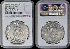 3 Gulden 1793 Utrecht UTRECHT 1793  NGC UNC DETAILS unz DETAILS