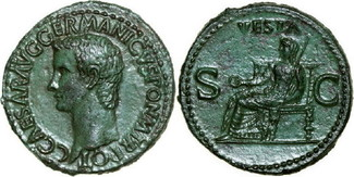 Æ As 37 - 41 AD Imperial CALIGULA 37 - 41 AD. , 11.01g. RIC 38