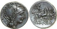 Republican AR Denarius APPIUS CLAUDIUS PULCHER, Rome/TRIGA