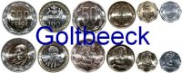 CHILE    Set of 6 coins 2005+, 1, 5, 10, 50, 100, 500 Peso UNC 6,00 EUR