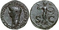 Roman Imperial  CLAUDIUS, Æ As, Rome/MINERVA