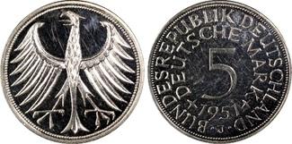 5 DM 1951-J Bundesrepublik Silberadler PP-...