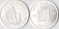 5000 Kwacha, 2001, Sambia Eine Unze Silber, st.,  100,00 EUR  + 3,50 EUR frais d'envoi