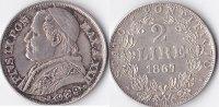 2 Lire, 1867, Vatican, Pius IX., vz.,  150,00 EUR  + 5,00 EUR frais d'envoi