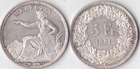 5 Franken, 1851, Schweiz,  fast stempelglanz, Prachtexemplar,  980,00 EUR  + 10,00 EUR frais d'envoi
