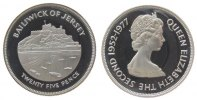 25 Pence 1977 Jersey Ag Elisabeth II, Silberjubiläum, etwas angelaufen ... 39,50 EUR  zzgl. 3,95 EUR Versand