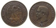 Frankreich - France 10 Centimes Br Napoleon III, W (Lille), Korrosoinsstelle