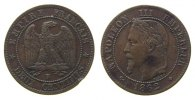 Frankreich - France 2 Centimes Br Napoleon III, BB (Strasbourg), kleiner Randfehler