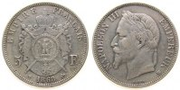 Frankreich - France 5 Francs Ag Napoleon III, BB (Straburg)