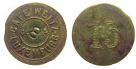 Luxemburg Marke zu 15 Centimes Messing Weitz - Cafe, Luxemburg, Punze: 8, ca. 22,8 MM