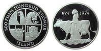 500 Kronur 1974 Island Ag 1100 Jahre Island pp  32,50 EUR  zzgl. 3,95 EUR Versand