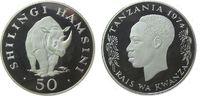 50 Shilingi 1974 Tansania Ag Nashorn, etwas fleckig pp  39,50 EUR  zzgl. 3,95 EUR Versand