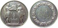 Frankreich Medaille Silber Liebe und Ehe, stehendes Brautpaar vor Altar / Gravur im Kranz, Rand:  G