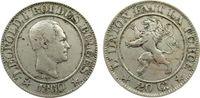 20 Centimes 1860 Belgien KN Leopold I, kleiner Randfehler ss-  56,50 EUR