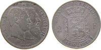 2 Francs 1880 Belgien Ag Leopold II, 50 Jahre Staatsgründung fast ss  95,00 EUR
