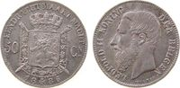 50 Centimes 1886 Belgien Ag Leopold II, Der Belgen vz+  95,00 EUR
