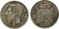 50 Centimes 1898 Belgien Ag Leopold II,der Belgen, Patina vz-  72,50 EUR