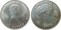 Mauritius 10 Rupees Ag Elisabeth II, Welternährungstag, Patina