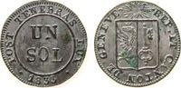 1 Sol 1833 Schweiz Kantone Billon Genf, etwas Grünspan vz-unc  50,00 EUR  zzgl. 3,95 EUR Versand