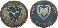 500 Mils 1980 Zypern Ag Olympiade Sommerspiele, Patina, etwas fleckig pp  50,00 EUR  zzgl. 3,95 EUR Versand