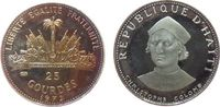 25 Gourdes 1973 Haiti Ag Kolumbus, Patina, minimale Handlingsmarken pp  30,00 EUR  zzgl. 3,95 EUR Versand