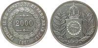 2000 Reis 1851 Brasilien Ag Pedro II ss+  45,00 EUR  zzgl. 3,95 EUR Versand
