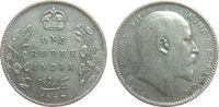 1 Rupie 1907 Britisch Indien Ag Edward VII,  C (Calcutta) fast ss  17,00 EUR  zzgl. 3,95 EUR Versand