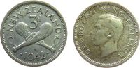 3 Pence 1942 Neuseeland Ag Georg VI, Kriegskeulen ss  2,50 EUR  zzgl. 3,95 EUR Versand