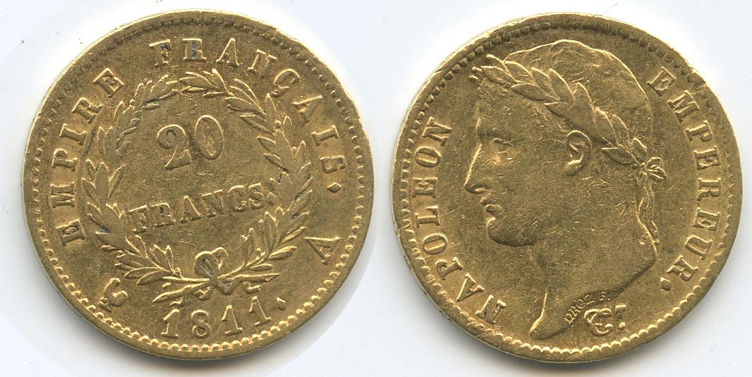 20 Francs Gold 1811 A Frankreich M#3346 Frankreich 20 Francs 1811 A GOLD ss