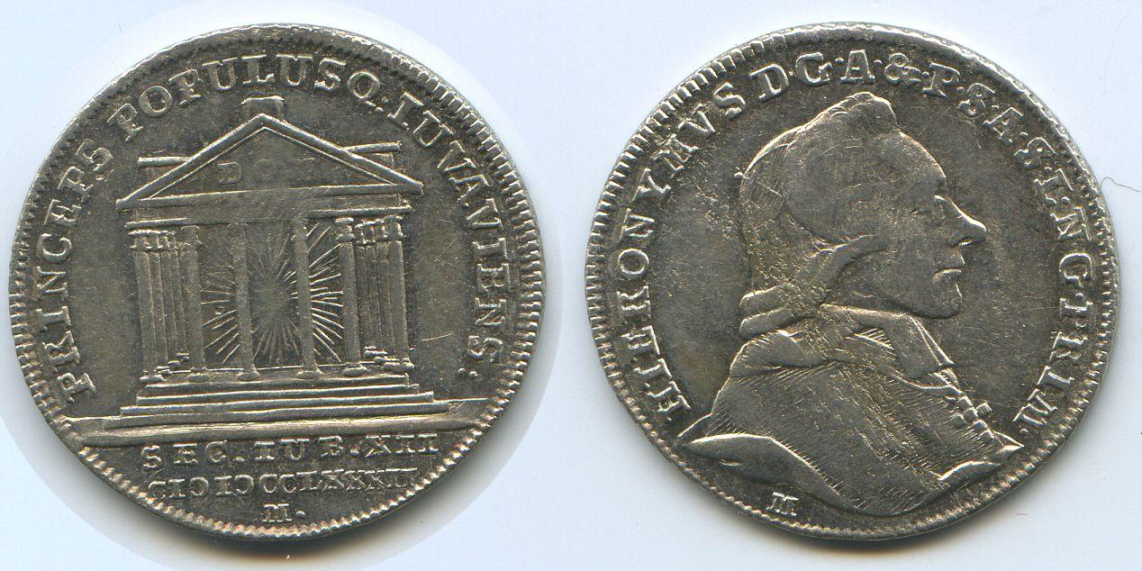 10 Kreuzer 1782 1782 Salzburg M#3282 - Auswurf-Münze zu 10 Kreuzer 1782 (1200 JAHRE BISTUM) f.st