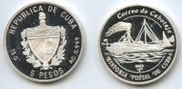 5 Pesos 1993 Kuba M#3620 Dampfschiff polierte Platte  25,00 EUR